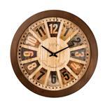 ساعت دیواری گرد چوبی صفحه برجسته لوتوس مدل JAMESTOWN-9818