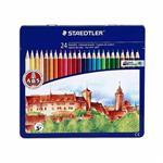 مداد رنگی استدلر مدل 24 رنگ Noris Club جعبه فلزی تخت کد 145-AM24
