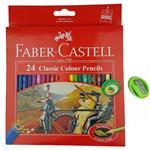 مداد رنگی 24 رنگ فابرکاستل مدل Classic به همراه تراش