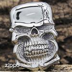 فندک زیپو اصل مدل جمجمه سه بعدی طراحی دست  Japan Design Handcraft Master Tibetan Silver Demon Skull Jacket