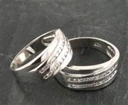 انگشتر نقره ست حلقه ازدواج روکش پلاتین _کد:15880