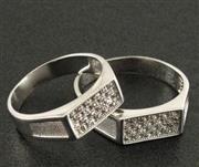 انگشتر نقره ست حلقه ازدواج روکش پلاتین _کد:15867