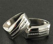انگشتر نقره ست حلقه ازدواج روکش پلاتین _کد:15881