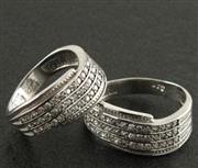 انگشتر نقره ست حلقه ازدواج روکش پلاتین _کد:15866