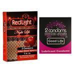 کاندوم خاردار گودلایف مدل Stage بسته 2 عددی به همراه کاندوم تنگ کننده ردلایت با عصاره انار مدل Night Life بسته 3 عددی
