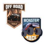 استیکر خودرو طرح Monster Race and Off Road مدل BSB-00117 بسته 2 عددی