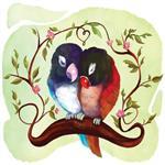 استیکر دیواری صالسو آرت طرح birds in love hk