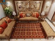 فرش عرش طرح بیژن رنگ فندقی قرمز شانه 500 استاندارد