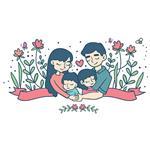 استیکر دیواری صالسو آرت طرح lovely family a.z