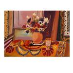 تابلو نقاشی رنگ روغن طرح طبیعت بیجان گلدان و جام