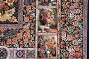 فرش برلیان طرح باغ بهشت سرمه ای