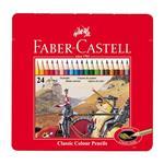مداد رنگی کلاسیک جعبه فلزی 24 رنگ فابر کاستل