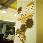 آینه دکوراتیو سایان هوم مدل شش ضلعی مجموعه 10 تکه