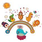 استیکر دیواری صالسو آرت مدل rainbow animal az