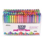 Lelix 320 Colors Pen Set 160 Unique Gel Pen Plus 160 Refills for Adult Coloring Books Drawing Writing