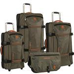 Timberland Luggage Twin Mountain 4 Piece Wheeled Duffle Set, Burnt Olive/Burnt Orange, One Size