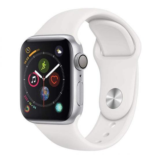 ساعت هوشمند اپل واچ 4 بدنه آلومینیوم نقره ای بند اسپرت سفید