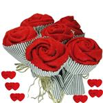 دسته گل مصنوعی مدل Red Rose کد 07892 مجموعه 6 عددی