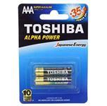 باتری نیم قلمی توشیبا Alkaline Alpha Power پک 2 تایی