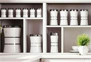 سرویس آشپزخانه 17 پارچه اورانوس | کمر باریک سفید درب استیل