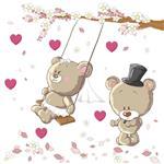 استیکر دیواری صالسو آرت طرح teddy lover mjr