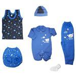 ست 6 تکه لباس نوزادی طرح خرس کوچولو رنگ آبی