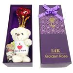 ست هدیه گل مصنوعی گلدن رز کد 4499