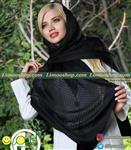 روسری حریر مشکی مجلسی چهارخانه
