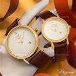 ست ساعت مردانه زنانه Elegance مدل W9740 (قهوه ای)