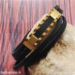 دستبند چرم و استیل رولکس