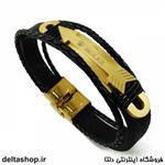 دستبند چرم و استیل رولکس طلایی