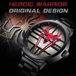 Watch Fashion Mens Spiderman Watch Full Steel Waterproof Cool Black Unique Quartz Wrist Watch Men Sports
