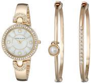 Anne Klein Women's Swarovski Crystal-Accented Bangle Watch and Bracelet Set