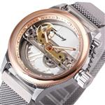 Forsining Transparent Case Steel Mesh Band Skeleton Mens Watches Brand Luxury Automatic Fashion Mechanical Wristwatch