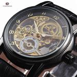 Forsining Hollow Engraving Skeleton Casual Designer Black Golden Case Gear Bezel Automatic Watches Men