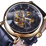 Forsining Transparent Skeleton Case Men Watch Automatic Wristwatches Leather Strap Brand Luxury Mechanical Watches