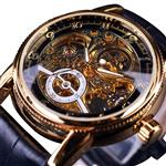 Forsining Golden Business Mechanical Watch Skeleton Open Work Dial Gear Movement Inside Luxury Dial