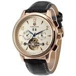 Forsining Men's Automatic Tourbillon Day Calendar Leather Strap Military Collection Watch FSG16577M3R1