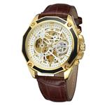 FORSINING Men's Skeleton Mechanical Watch Reloj Automatic Movtment Male Clock with Genuine Leather Strap