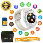 Smart Watch SN08 Smart Watches Round with Touch Screen Camera SIM Card Slot Sport Fitness Tracker Smartwatch Compatible with Android Phones Samsung Huawei Xiaomi Sony iPhone Women Men Kids (White)