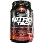 MuscleTech NitroTech Protein Powder Plus Muscle Builder, 100% Whey Protein with Whey Isolate, Strawberry, 20 Servings (2lbs)