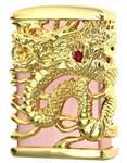 ZIPPO Oil lighter Celestial Dragon Brass Pink Gold Plating Full Metal Jacket