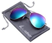 WODISON Vintage Mirrored Aviator Sunglasses for Women Men Reflective Lens Metal Frame