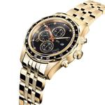 Daniel Steiger Alphagraph Men's Watch - 18k Gold Plated Stainless Steel - Diamond Indices And Multi-Function Dual Time Movement