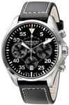 Hamilton Men's H64666735 Khaki Aviation Stainless Steel Automatic Watch with Black Leather Band