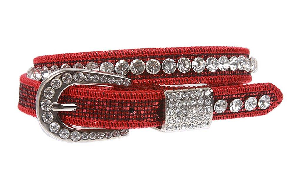 MONIQUE Kids Western Cowgirl Horseshoe Rhinestone Buckle Skinny 20mm Wide Belt