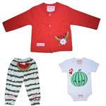 ست 3 تکه لباس نوزادی دخترانه طرح هندوانه مدل یلدا کد t77285493-gg