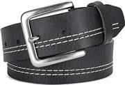 Men's Top Grain white stitch one piece leather Belt, Snap buckle,1.5