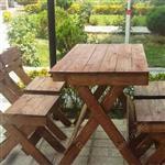 میزوصندلی چوبی تاشو 4نفره با چوب6سانتی