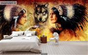 پوستر دیواری طرح نقاشی سرخپوست و حیوانات DA-2348